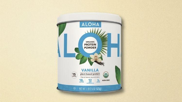 Aloha Organic Vanilla Vegan Protein Powder to mix with smoothies